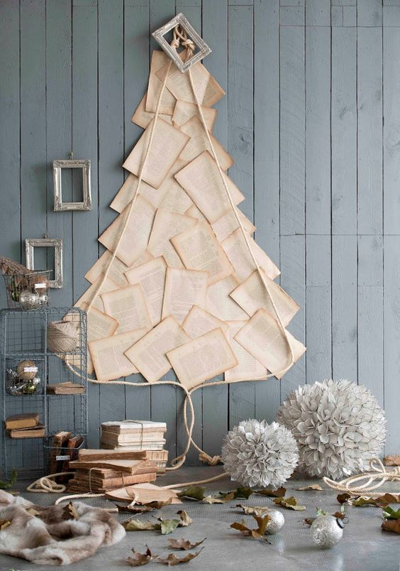 a Christmas tree of vintge book pages is idela for a book lover dwelling