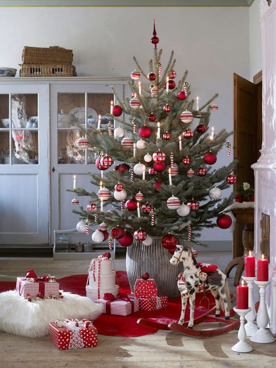 a traditional Nordic Christmas tree with white, red and silver ornaments and candy canes as decorations