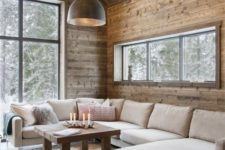 24 neutral upholstery is great for modern rustic spaces, and wood is a perfect match