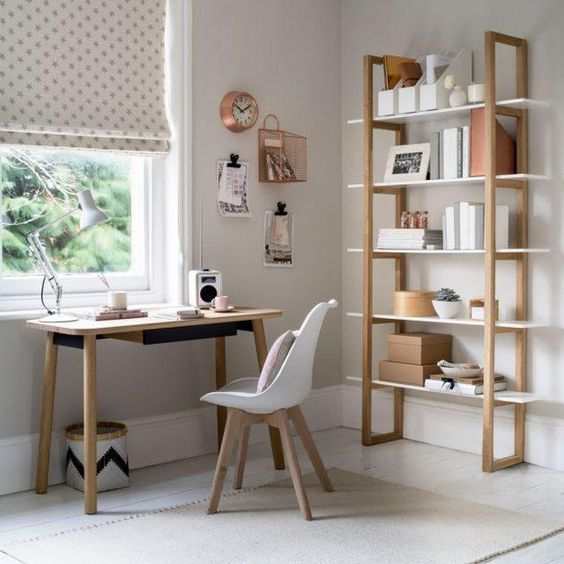 rock some neutral wooden furniture in your home office to raise its level of coziness