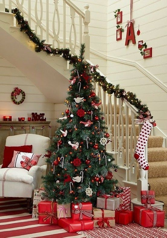 a traditional Scandi Christmas tree with red and white ornaments and candy canes hanging on the tree