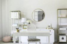25 a very neutral home office is made catchier with metallics, faux animal skin and a leopard print