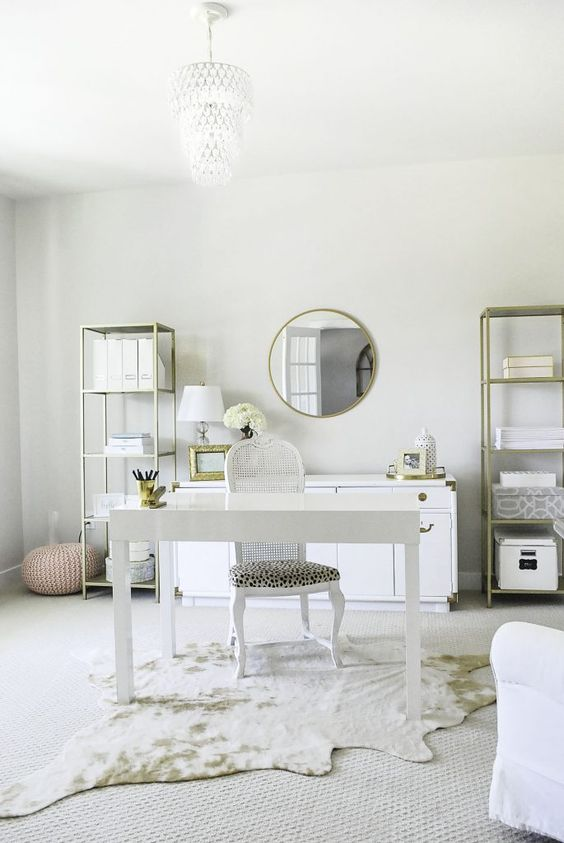 a very neutral home office is made catchier with metallics, faux animal skin and a leopard print
