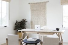 26 rock macrame, rugs, various upholstery for a boho and catchy look in your neutral home office