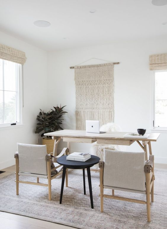 rock macrame, rugs, various upholstery for a boho and catchy look in your neutral home office