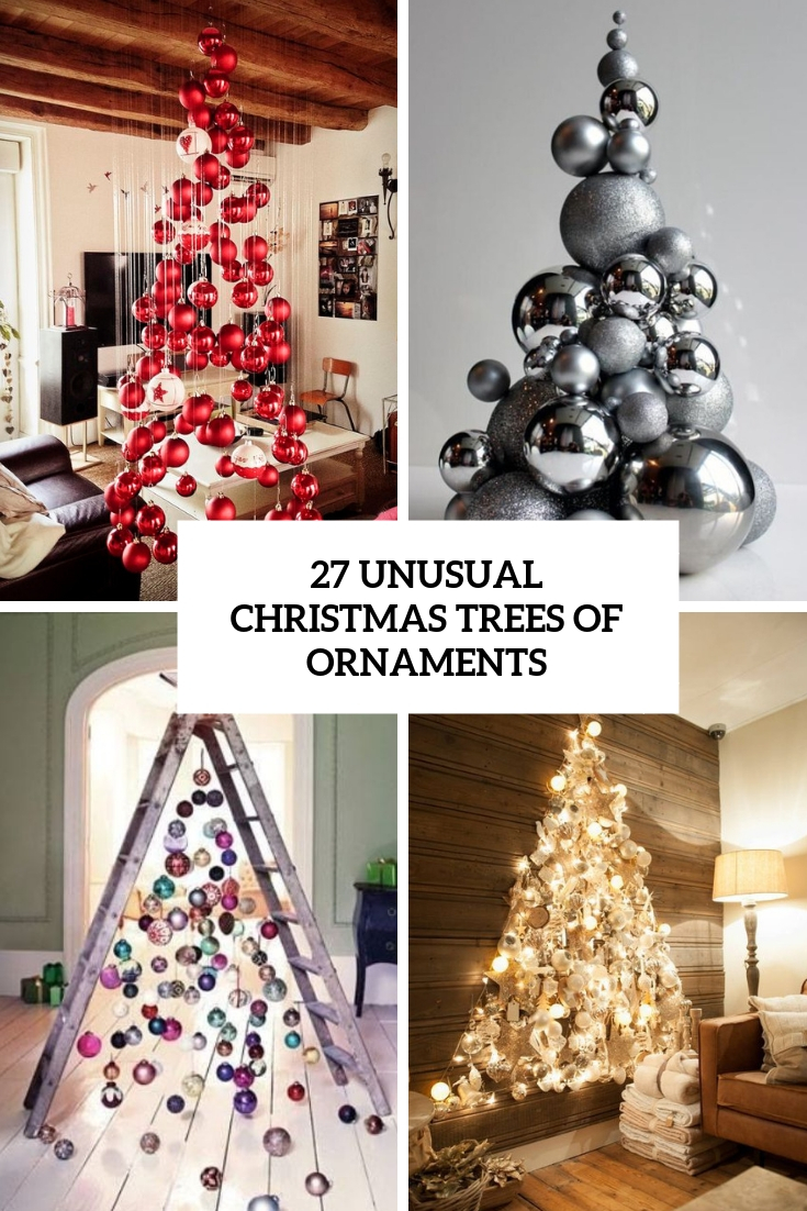 unusual christmas trees of ornaments cover
