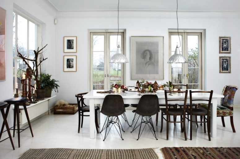 This cool Danish home is a traditional Scandinavian dwelling decorated for Christmas
