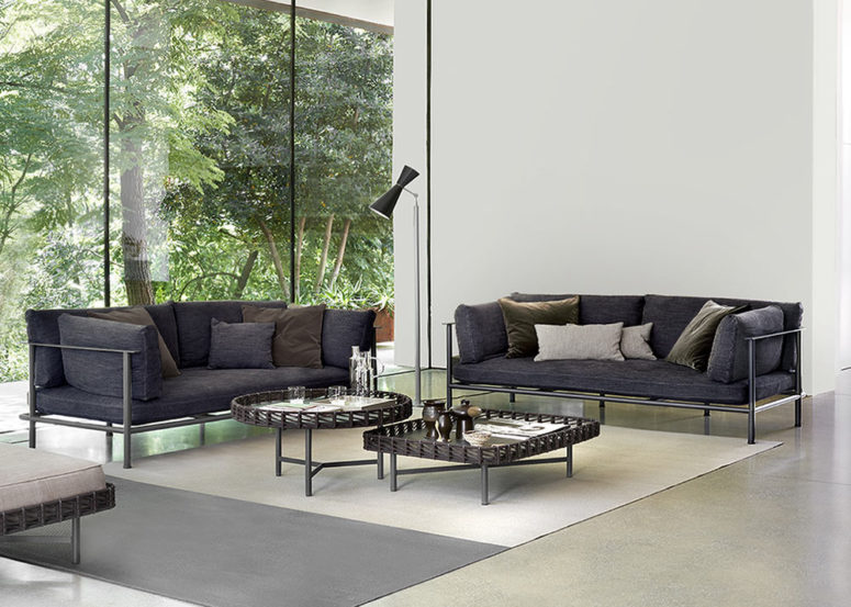 This modern and stylish furniture collection consists of sofas and tables and poufs for outdoors