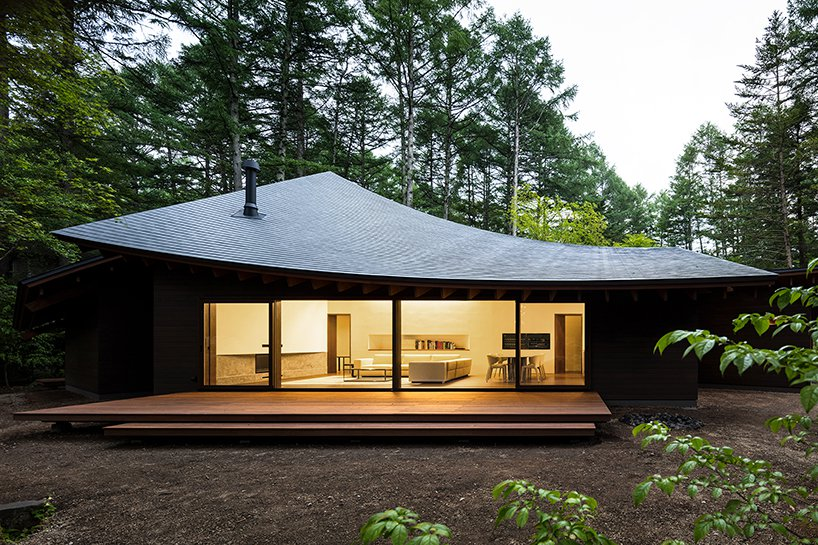 This unique minimalist weekend home looks like a pile of leaves and it's really inspired by one