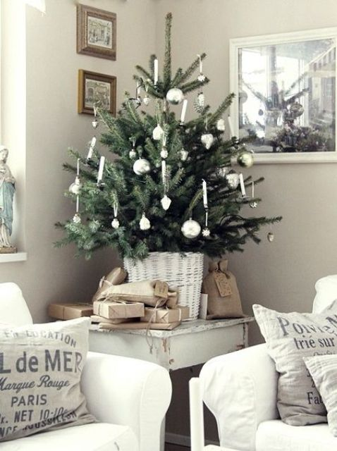 a small tree requires small-scaled ornaments, which won't take much space and will look appropriate