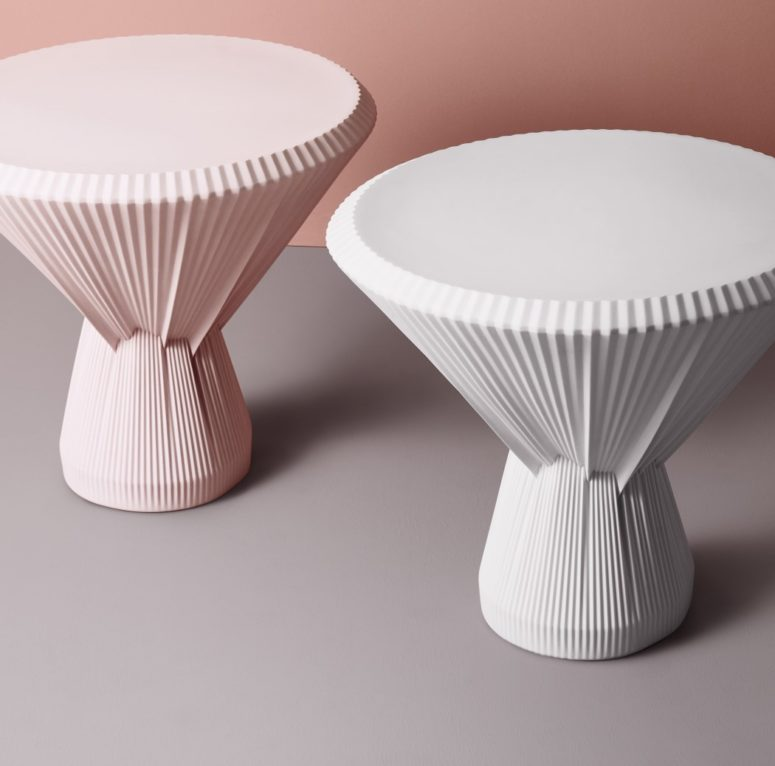 The tables are available in two colors - off-white and blush