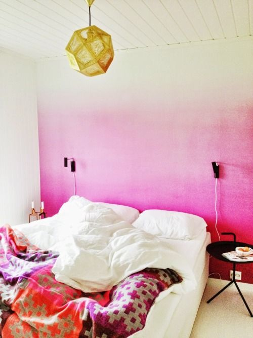 a bright and fun ombre pink statement wall will make your bedroom decor more special and whimsy