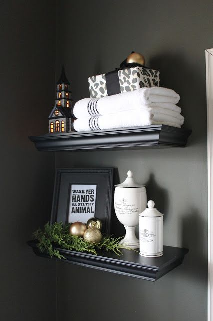 go for some chic displays on the shelves, next to your towels, they won't take too much space
