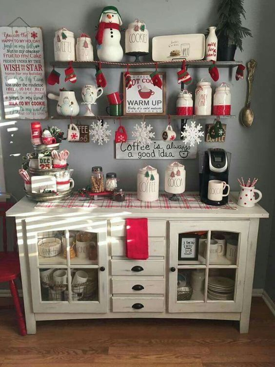 a beautifully organized Christmas chocolate and coffee station with snowflakes, penguins, polka dots and plaid touches