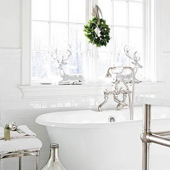 hang a small and cute wreath on the window, add a couple of deer over the bathtub and holidays are here