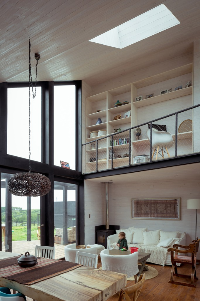 The balcony is a home office and a library at the same time