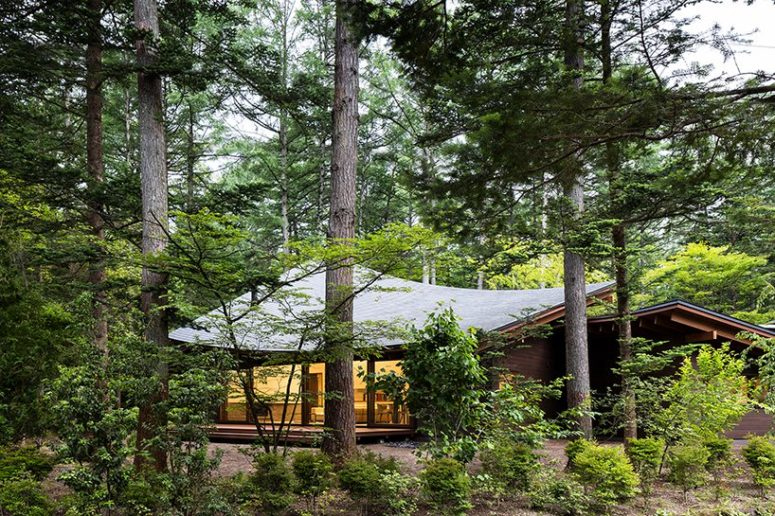 The house is located in the middle of a forest, which makes privacy not a matter of concern, and extensive glazings are welcome to enjoy the views
