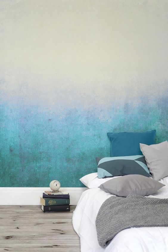 an ombre wall from neutrals to turquoise is a cool way to accent your sleeping space without overdoing it