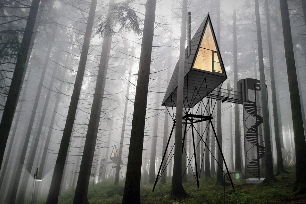 This is how these cabins are supposed to look in the forest, though they aren't on the trees, they are next to them