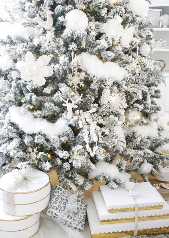a flocked Christmas tree with ornaments of all kinds, fake blooms and faux fur in white brings you to winter wonderland