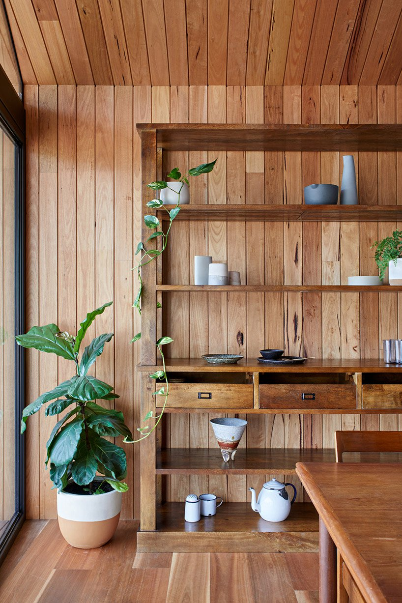 wooden shelving unit is stylish yet partical solution