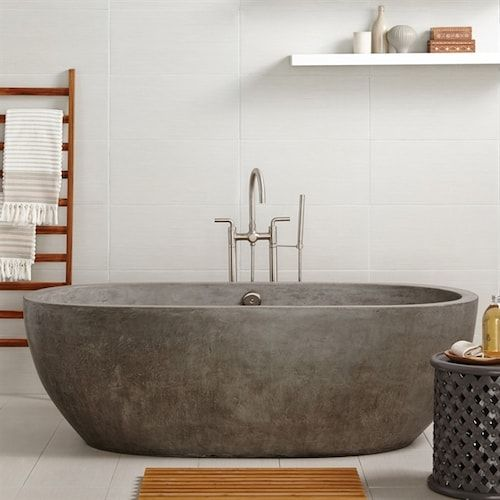 a concrete bathtub is an interesting idea to add texture and a modern feel to your modern bathroom