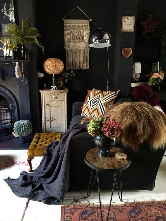 dark and moody room with lots of cool accessories