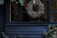 07 coordinate your indoor and outdoor decor, rock evergreens and a dried herb wreath to make your outdoor space hygge, too