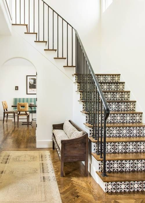 incorporate mosaic tiles into your interior cladding your stairs with them - such decor can be seen even in Mediterranean cities