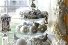 07 silver and white Christmas decor is a cool color scheme, which is neutral enough and has enough impact