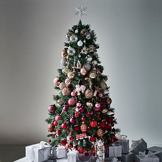 a bright Christmas tree with an ombre effect from white and silver to pink and red, metallic and colors always work well