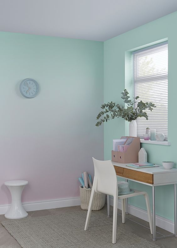 a gradient wall from mint to light pink is a chic idea for this girlish home office