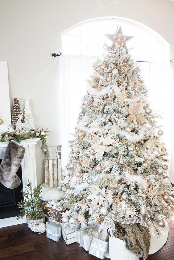 a neutral snowy Christmas tree with metallic glitter ornaments and lights is great as it has enough impact