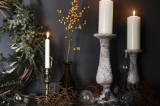 08 decorate your mantel with fresh greenery, berries, vines and branches and add candles for a magical feel