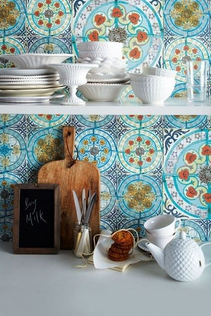 blue mosaic tiles on your backsplash make your kitchen really Mediterranean