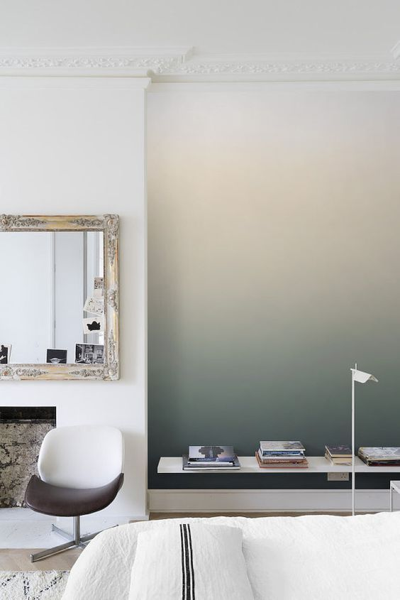 ombre walls shouldn't always be bright, they cna be peaceful and soft colored like this one