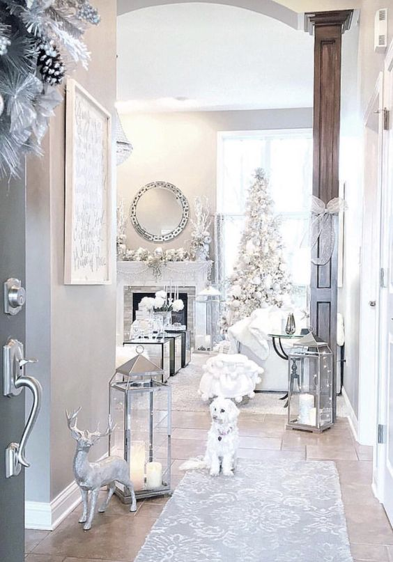 if you have home decorated with whites and silver, keep the theme up choosing the same decor
