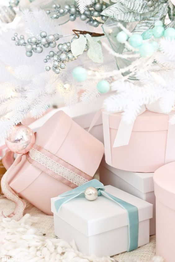 pastels can be another nice idea for Christmas decor, they are neutral yet bring some color to the space