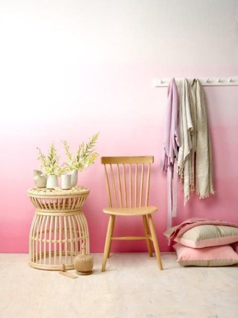 add a warm feeling with an ombre pink wall in your closet, bedroom or entryway