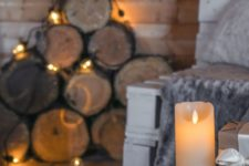 15 candles paired with lights create a hygge ambience at once, you won't need much