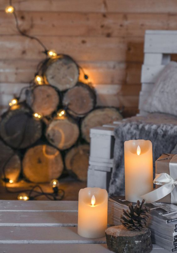 candles paired with lights create a hygge ambience at once, you won't need much