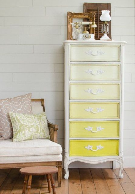 a tall vintage dresser in ombre yellow is a beautiful way to renovate and modernize your old furniture piece