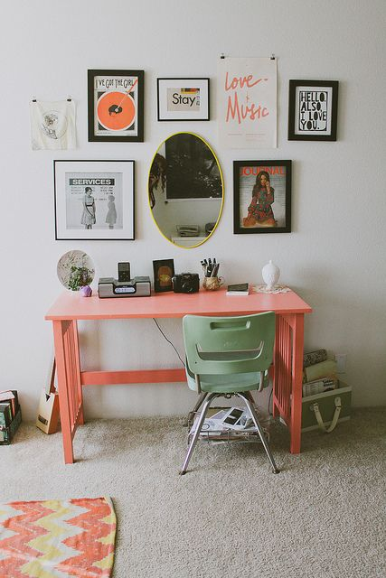 take a usual desk and paint it coral to make the desk trendier and bolder