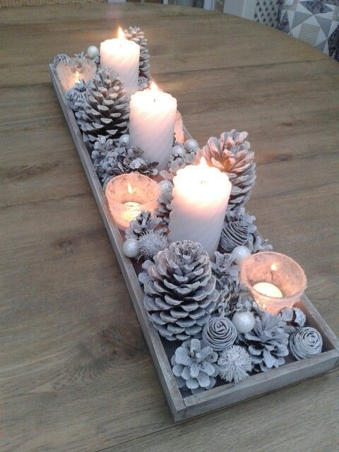 a snowy Christmas centerpiece of whitewashed pinecones, beads, pearls and candles is a simple DIY idea