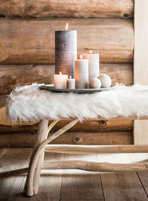 cover a usual bench with faux fur to make it cozier and more comfortable