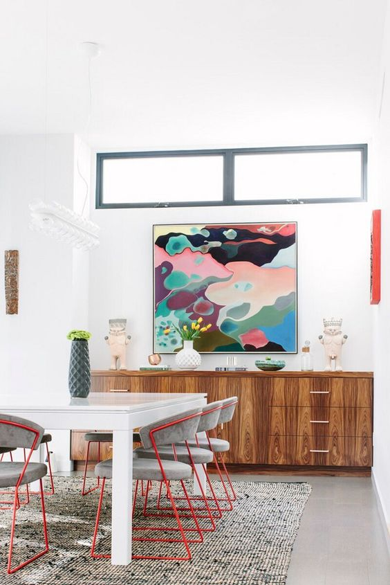 a bold and colorful artwork can be a nice focal point for your eclectic space