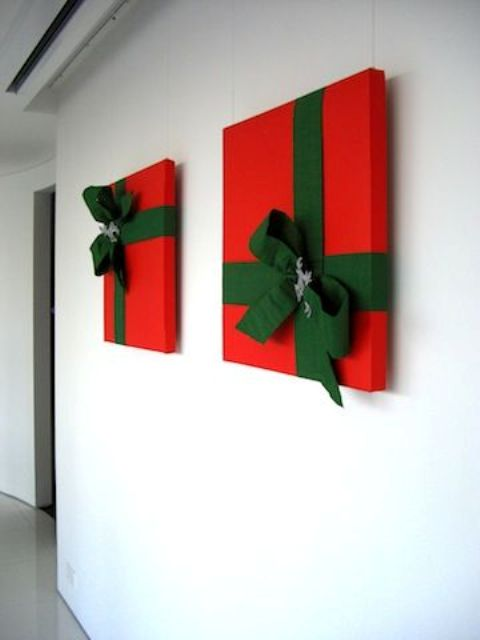 attach faux or real Christmas gifts in red and emerald to make your space very festive