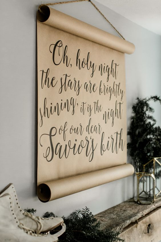 create such a calligraphy scroll with any text you like yourself and hang it on the wall for the holidays
