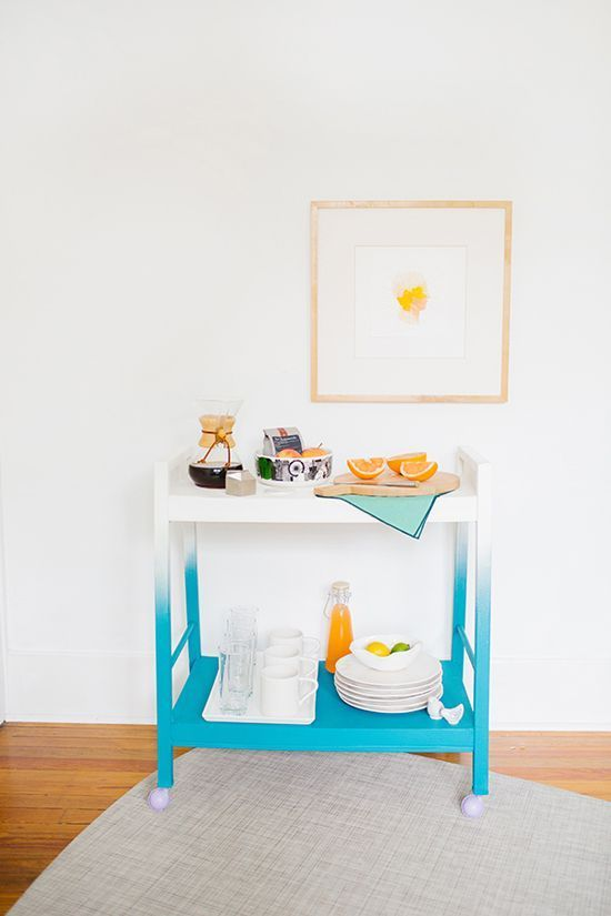 an ombre turquoise bar cart is a bold idea to make your space brighter and is an easy DIY project