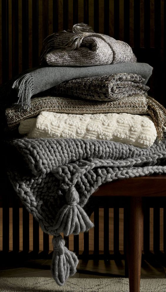 if you feel like crafting, DIY some cozy fabric, crochet and knit throws for your hygge holidays